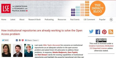 How institutional repositories are already working to solve the Open Access problem